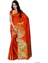 Mimosa Women's Tassar Silk Saree With Blouse Piece (2070-Org,Orange,Free Size)