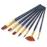 AOLVO - Juego de 7 pinceles profesionales de pintura, pinceles de nailon, pinceles de pintura, para acuarela, óleo, acrílico, pintura facial, 7 diferentes formas de cepillo