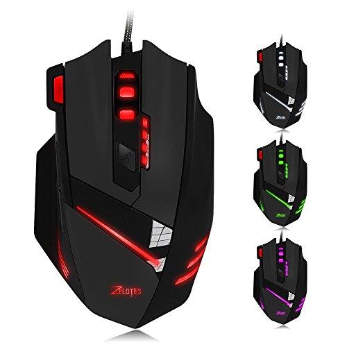 Zelotes Gaming Maus, 8Tasten Design, Gewicht Tuning Set 6LEDs, wechselnde Farben, kabelgebundene Maus Mäuse für Gamer PC MAC schwarz schwarz -