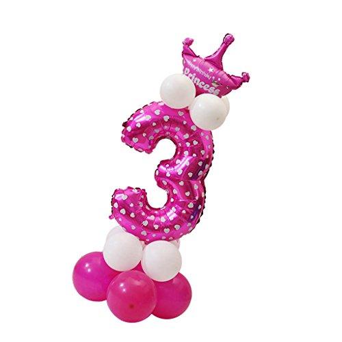 Sharplace Ballon Zahl 0-9 in Rosa - Folienballons und Latexballons als Mädchen Geschenk Geburtstag Party Dekoration - Nummer 3 (Für Jungen 1. Geburtstags-geschenk-ideen)