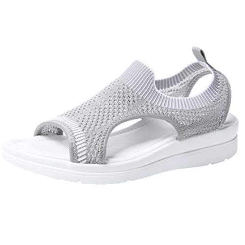 Große Größe Mesh Sandalen für Frauen/Dorical Damen Mädchen Atmungsaktiv Komfort Aushöhlen, Lässige Sommer Wedges Tuch Schuhe Frau Keil Peep Toe Sandals 35-45 EU(Grau,36 EU)