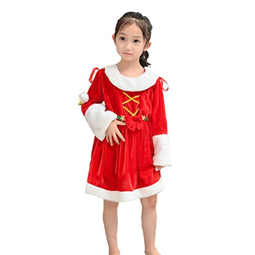 Weihnachtsmann Kostüm Kleine Mädchen Für - Weihnachtskostüm - Kinderkleidung Mädchen Weihnachten Kostüme kleine Prinzessin Kostüme Weihnachtsmann Bühnenkostüm (Multi-Size-Auswahl) (Farbe : Red, größe : 140)