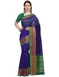 G Stuff Fashion Women Cotton Silk Saree With Blouse piece_TA-39_Blue Pink Peacock saree