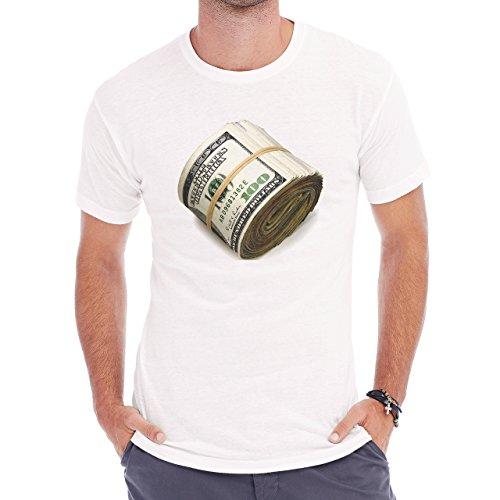 Cash Pile Roll Up Hundred Herren T-Shirt Weiß