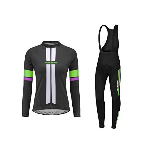 Uglyfrog Radfahren Kleidung Winter Profiteams Warm Langarm Damen Set Fleece thermo Radtrikot 3D Gepolsterte Trägerhose (Santini Thermo-fleece)