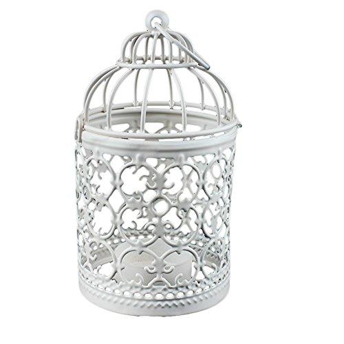 Kerzenhalter Laternen Teelicht Hochzeit Home Tisch Dekoration Vogelkäfig aus Metall Weiß 8x 14cm 1Stück White x 1 (Hochzeit-tisch-laternen)