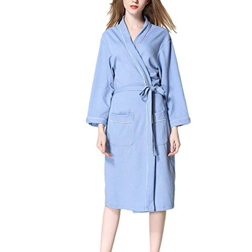 Saoye Fashion Womens Luxury Waffle Robes Dressing Gowns Unisex Soft Kleidung Cotton Nightwear Loungewear Housecoat Plus Size (Color : Blau, Size : S)