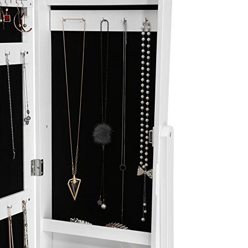 Songmics JBC77W Schmuckschrank und Standspiegel zwei in einem, weiß, 35,5 x 153 x 35 cm - 6