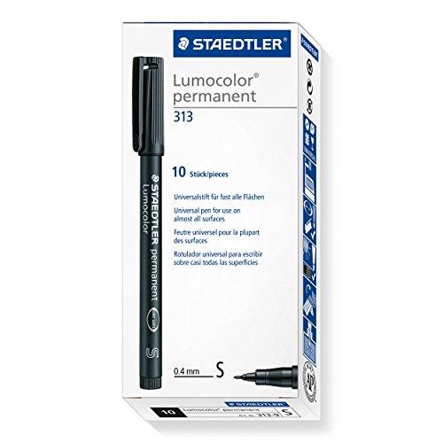 Staedtler Lumocolor 313-9 permanent Folienstift, wasserfest, 10 Stück in Kartonschachtel, S-Spitze Linienbreite ca. 0.4 mm, hohe Qualität, sekundenschnell trocken, schwarz