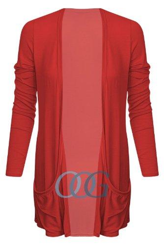 Outofgas Clothing. - Haut Gilet Cardigan Ouvert Femme Poche Détendue Manche Longue Style Boyfriend Neuf Rouge