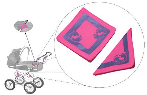 Kultkorn Kinderwagen Reflektor-Set 4 Stück / Rollstuhl / Rollator / Gehwagen / Gelb / Geschenk zur Geburt / Pink / Neon / Jogging Buggy / Sicherheit / Dunkelheit / Sichtbarkeit / Schutz / Baby / Kind / Straßenverkehr / Hoch-reflektierend / Leuchtend ( Pink )