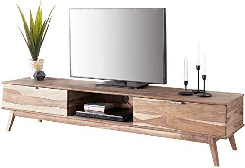 DELIFE Fernsehtisch Dover Sheesham Natur 2 Schübe 1 Fach Massivholz Lowboard