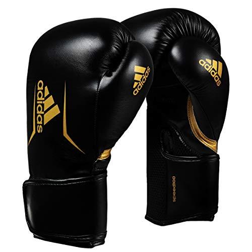 adidas Unisex-Adult Speed 100 Boxhandschuhe, schwarz-Gold, 12oz