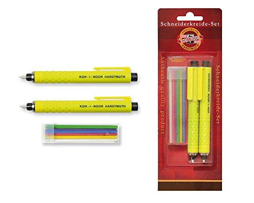KOH-I-NOOR Schneiderkreidestift - 2 Stück mit 6 Ersatzminen Schneiderkreide Set Schneider Kreide grün rot blau weiß gelb violett