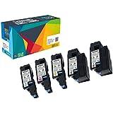 Doitwiser ® Set de 5 Cartuchos de Tóner Compatibles de Alto Rendimiento para Dell C1760nw C1765nf C1765nfw 1250c 1350cnw 1355cn 1355cnw - 593-11016 593-11021 593-11018 593-11019 - Capacidad: Negro 2000 páginas - Color 1400 páginas (5 Pack) Negro Cyan Magenta Amarillo