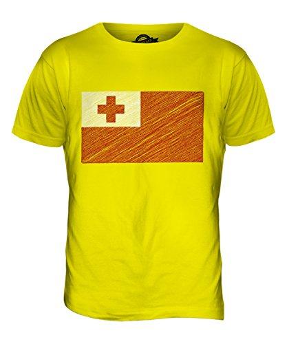 CandyMix Tonga Kritzelte Flagge Herren T Shirt Zitronengelb