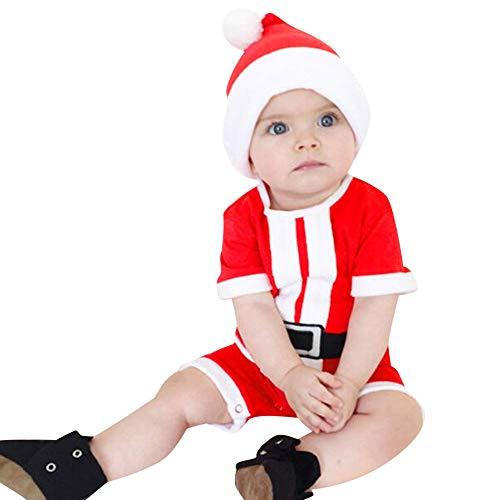 bobo4818 Neugeborenes Baby Boy Christmas KostüM Weihnachtsmann Hut Strampler Kleidung Outfits Weihnachten Langarm Strampler Pyjama for 0-18M (6-9 Months, Rot)