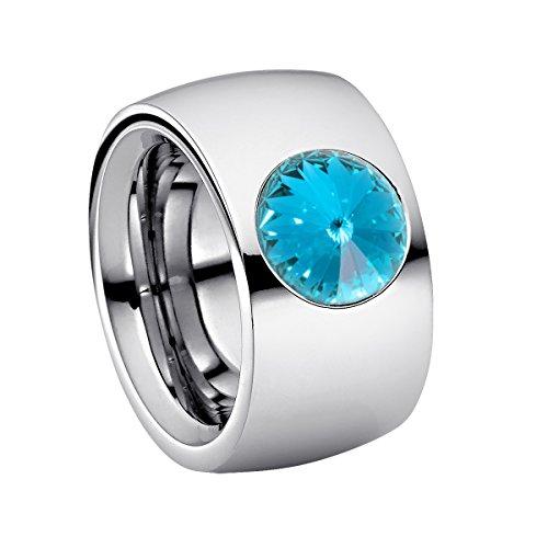 Heideman Ring Damen Coma 14 aus Edelstahl Silber farbend poliert Damenring für Frauen mit Swarovski Stein Kristall hell blau im Fantasie Edelsteinschliff 10mm