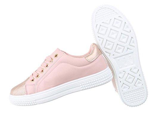 Damen Schuhe Sneakers Sportschuhe Turnschuhe Freizeitschuhe Rosa Gold 40 4DHPOUnY