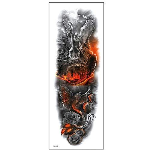Volle Armabdeckung Temporäre Tätowierung Schöne Kriegs-Engel-Zeichnungen für Männer und Frauen 4er-Pack,17×48cm - Engel Tattoos Frauen