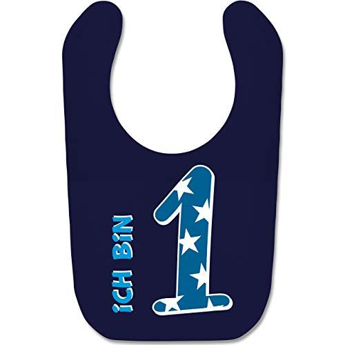 g Baby - Ich bin 1 Blau Junge Erster - Unisize - Navy Blau - BZ12 - Baby Lätzchen Baumwolle ()