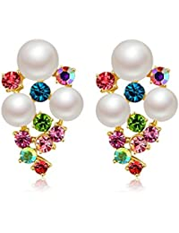 Jewels Galaxy Crystal Elements Sparkling Colors Fascinating Pair Of Pearl Stud Earrings For Women/Girls