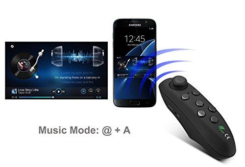 Bluetooth 360 Controller / Fernbedienung / Gamepad für VR Gear, Smartphones, Tablets, PC, Selfie Auslöser, Video, Musik, Maus, Ebook, und VR Apps | Version 2017 [Batteriebetrieb | Android | schwarz-matt]