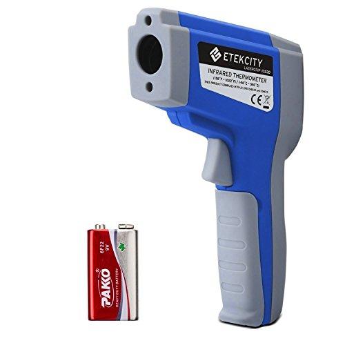 Etekcity Dual Laser Infrarot Thermometer / Pyrometer, -50 bis +550°C mit Einstellbarem Emissionsgrad & LCD Beleuchtung, Blau