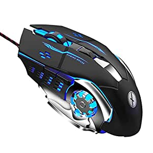 Xmate Zorro 3200DPI LED Backlight 6 Button Wired USB Gaming Mouse, Durable ABS Body for Gamers, 4 Color Breathing Lights, 1.5M Nylon Braided Cable (Black)