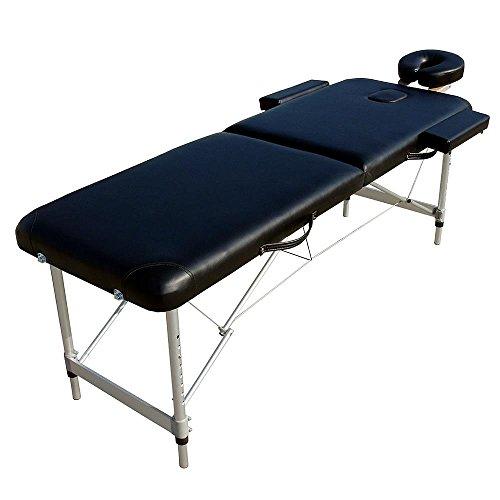 Melko® Tragbare Profi-Massageliege 2 Zonen aus Aluminium und Holz - in verschieden Farben (Aluminium, Schwarz) Aluminium-tragbare Massageliege
