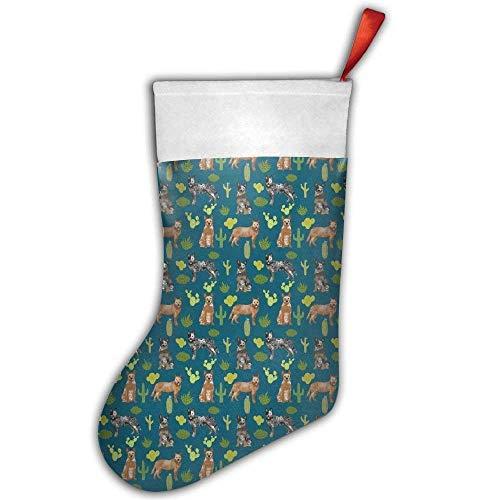 Wfispiy Australian Cattle Dogs Cactus Desert Christmas Hanging Stocking,Assorted Santa Gift Socks Hanging Accessories for Xmas Tree Decoration Only Printed One Side -