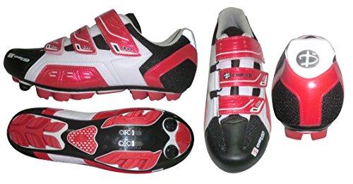 Deko Sports, scarpe ciclismo mountain bike, modello New Cliff, colore bianco/rosso/nero, misure varie (45)
