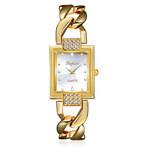 Sonnena Damen Armbanduhren, Mode Luxuriös Strass Armbanduhr Metallband Uhren Damenuhr Frauen Wrist Watch Outdoor Klassik Gold Analoge Quarz Armband Handgelenk Uhr (Gold)