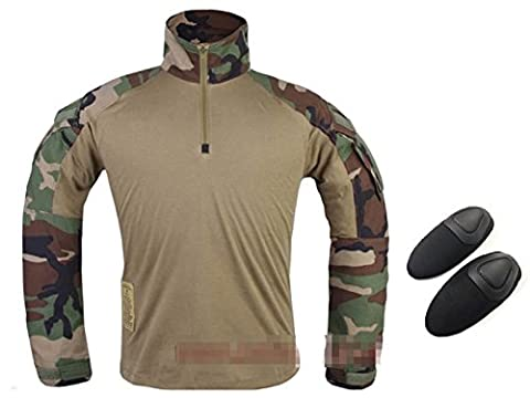 Tir militaire militaire BDU Hommes Gen3 G3 Combat manches longues avec coussinets pour Airsoft Woodland Camo WorldShopping4U (S)