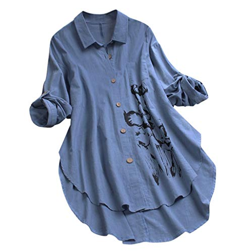 MRULIC Damen Fledermaus Hemd Lässig Locker Top Dünnschnitt Bluse Frühling T-Shirt Leinenbluse Freundin(F2-Blau,M)