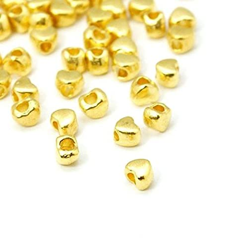 Packet of 100+ Gold Tibetan 3 x 4mm Heart Spacer Beads - (HA15460) - Charming Beads
