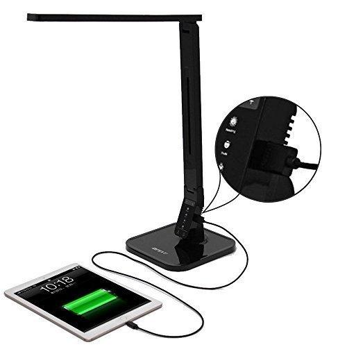 ANNT 14W Dimmbar LED Tischlampe 4 Modi Einstellbar Schreibtischlampe mit USB-Anschluss (Schwarz)