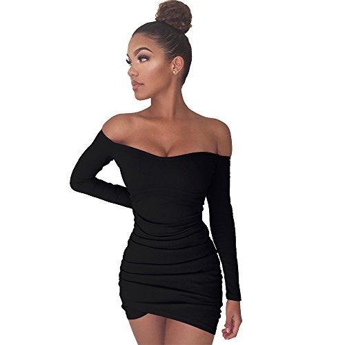 (Fee-lice Damen Bodycon Minikleid Langärmelige Rock Kleid Unregelmäßige Falten Paket Hüfte Schulterfreie Kleider (L, Schwarz))