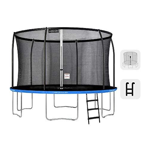Buzz Trampolín de jardín Redondo Azul 360 Pack Plus + Escalera Cama elástica para niños al Aire Libre