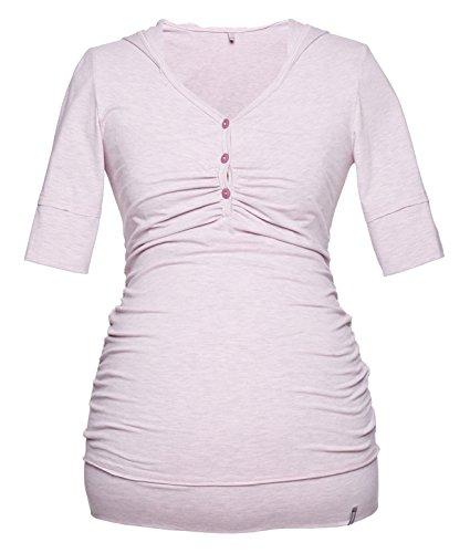 T-shirt pour maternité, t-shirt avec capuche pour allaitement, modèle : IMAN, à manches courtes et longues rose clair
