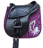 Reitsport Amesbichler AMKA Sella per Ragazzi Set Ruby - Cuscino da Equitazione Completo con Cinghie, coprisella, staffe e Cintura, Taglia Pony la Consegna delle staffe può variare.