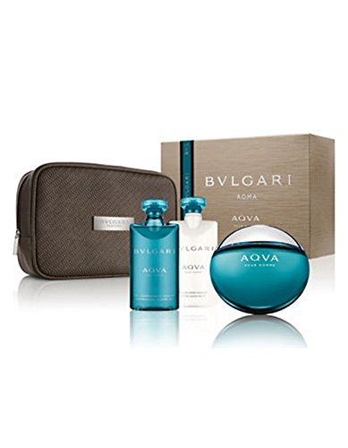 LOT AQUA POUR HOMME EDT 100ML + SHOWER GEL 75ML + AFTER SHAVE BALM 75ML + POUCH by BVLGARI