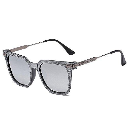 Yiph-Sunglass Sonnenbrillen Mode Retro-Stil der Männer polarisierte Sonnenbrille Holz Farbe PC-Rahmen UV-Schutz Fahren Sonnenbrille im Freien für Angeln Radfahren Golf Sommer Strand (Farbe : Silber)