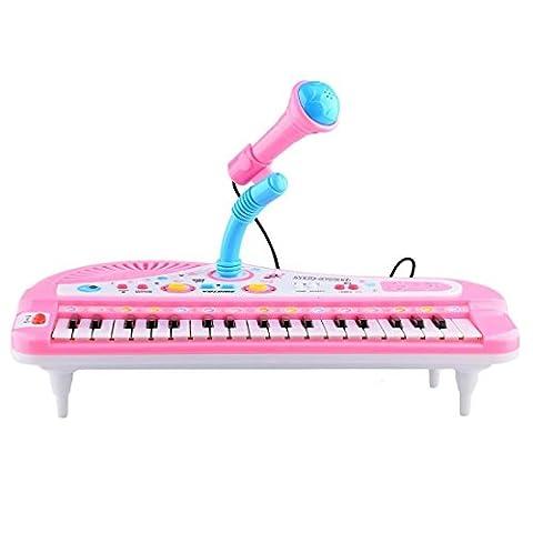 Shayson 37-clé multifonctions orgue clavier Piano électronique avec micro jouet éducatif pour les tout-petits enfants enfants (Rose)