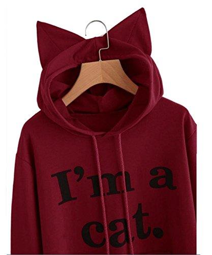 Femme Pull Hoodies Automne Hiver Lettres Imprimé I'M A CAT Sweats à Capuche Manche Longue Chat Cosplay Kawaii Sweat-shirt Tops Femmes Chemisiers Vin rouge