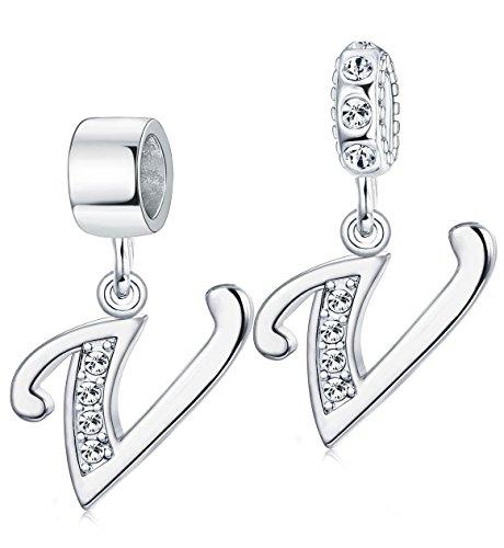 Milacolato Damen-Charm Baumeln Buchstabe A - Z mit Zirkoniafür Frauen Halskette Armband Schlangenkette Kristalle Anhänger, Alphabet Hängend