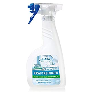 HAKA Kraftreiniger I 500ml Kalkreiniger I Reinigungsmittel gegen Kalk und Schmutz I Entfernt Kalkverschmutzungen, Wasserflecken und Seifenreste in Küche und Bad