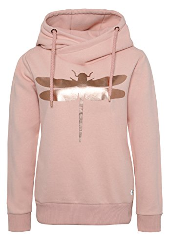 Rock Angel Damen Sweathoodie mit Libellenprint MIRA | Sportlich-Eleganter Kapuzenpullover rose M (Metallic-print-rock)