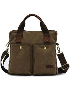 FakeFace Herren Satchel Schultasche Umhängetasche aus Canvas Segeltuch Schultertasche Messenger Bag Cross-Body...
