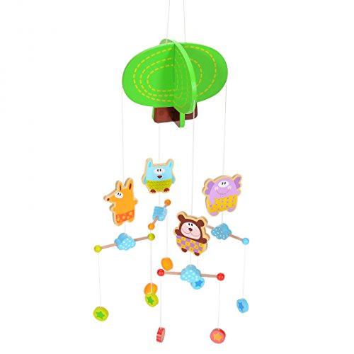 LCP Kids Baby Mobile Holz Kinderbett Hänge Spielzeug mit Eule Fuchs BAER Elefant (Eule Baby Für Mobile Kinderbett)